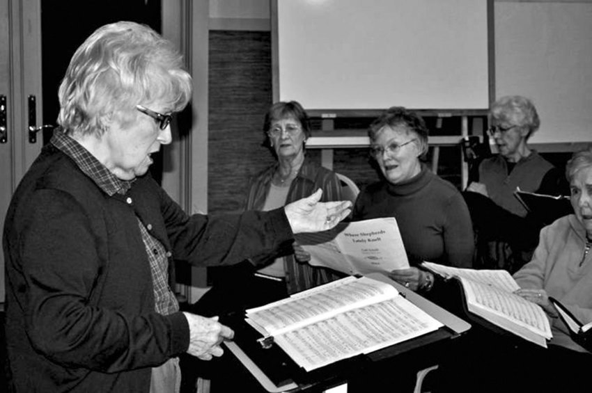 Mary Lou Montgomery has been directing Choral Belles for 12 years. The group is performing a Toys for Tots benefit at the Dec. 15 Candlelight Concert at Trinity United Methodist Church. File photo by Viviann Kuehl