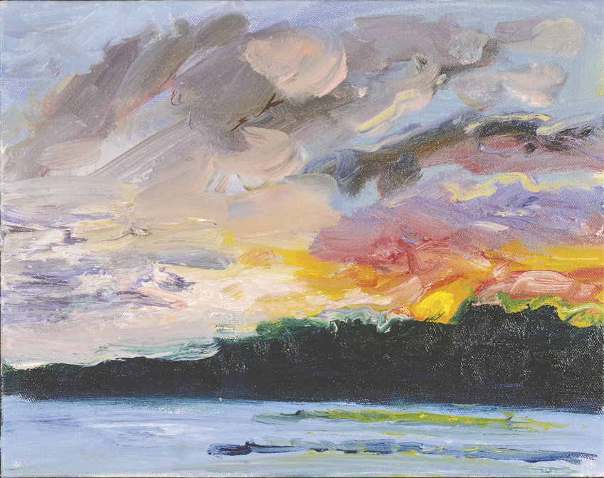 """""""Sunrise Bursting with Joy"""" is an oil-on-canvas painting by Andrea K. Lawson. The piece is part of her """"Seascape Mindscape"""" show at Pippa's Real Tea . Courtesy image"""