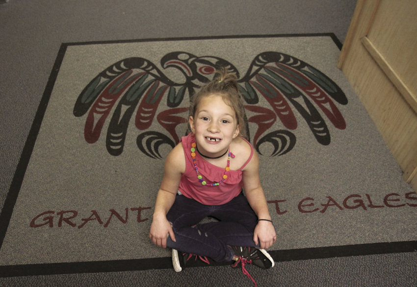 "Athena Wells, who just turned 7, said she likes being a Grant Street Elementary ""Salish Eagle,"" yet is ready to talk about a potential new name for the new elementary school, slated to open in 2018. General nominations from the public are being accepted until Jan. 7, 2017 at tinyurl.com/ptschoolname. Photo by Patrick Sullivan"