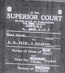 Jefferson County Superior Court October 9, 1931 Trial Docket Case #4103