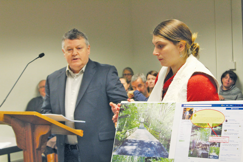 Fort Discovery president Joe D'Amico and executive assistant Justine Wagner address county commissioners Dec. 3.