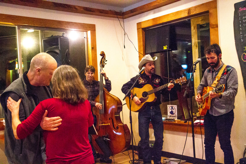 Winstead and Dwyer perform songs from Winstead's holiday album with Port Townsend's Dirk Anderson on bass, while Chimacum residents dance along at The Keg and I.