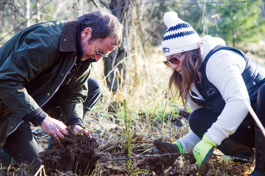"""Tarynn Kettel, left, and Tim Lawson, right, partner up to plant trees. """"I'm here because of a passion for restoration of the environment, but also just gratitude for the beauty of the area we live in and a desire to give back,"""" Lawson said."""