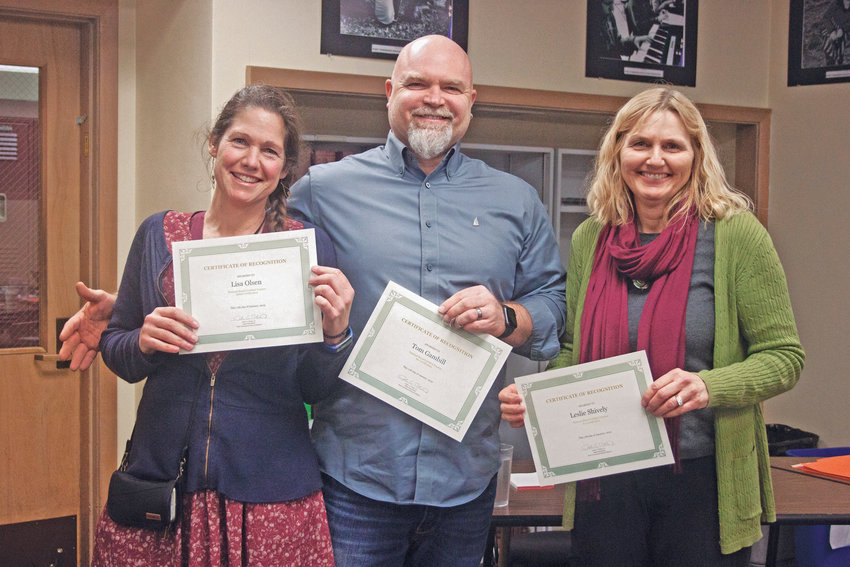 From left, Lisa Olsen, Tom Gambill and Leslie Shively are honored as National Board Certified teachers in the Port Townsend School District Jan. 17.