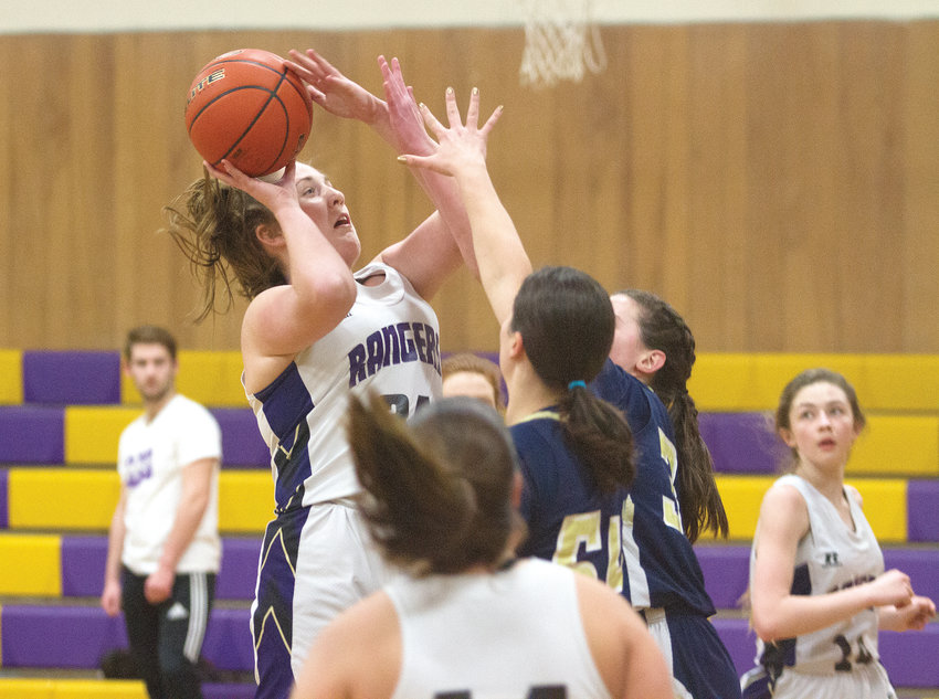 Quilcene High School sophomore Marissa Kieffer shoots from the key Feb. 7 during the Rangers' SeaTac League win over Northwest Yeshiva at Quilcene High School. Kieffer scored 28 points on 13 field goals in the game.