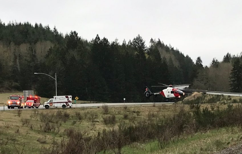 State Route 101 was partially blocked April 8 after a man was airlifted to Harborview Medical Center for injuries from a two-car crash.