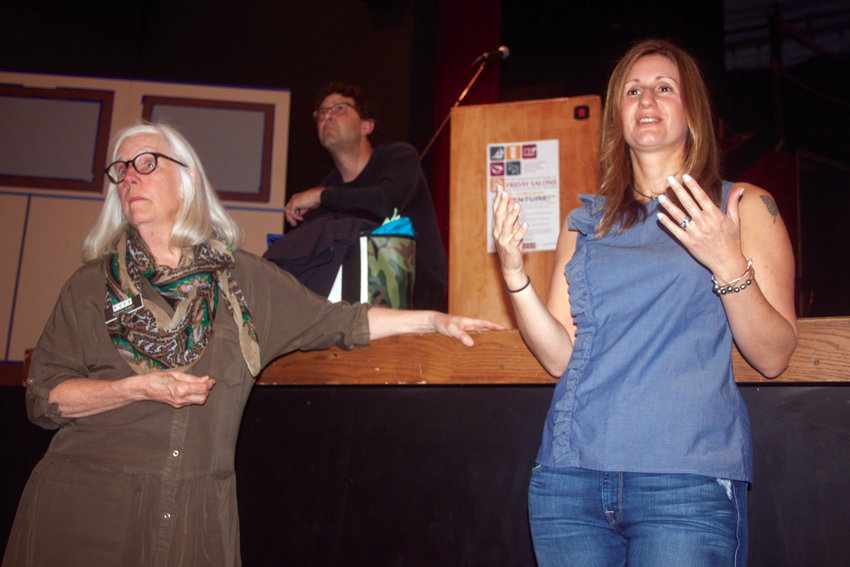 """Leah Warshawski, director of the 2016 documentary """"Big Sonia,"""" right, speaks with students about her film. At left is Janette Force, PTFFl executive director."""