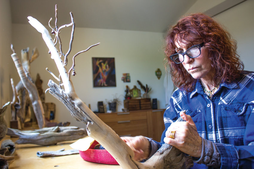 Suzzanne Stangel does not begin her sculptures kowing exactly how the piece is supposed to turn out, she says.