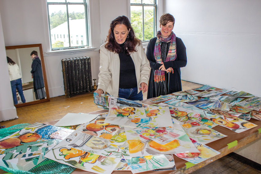 Meg Kaczyk, left,  and Michelle Hagewood spent this past week preparing for the upcoming residency at Fort Worden.