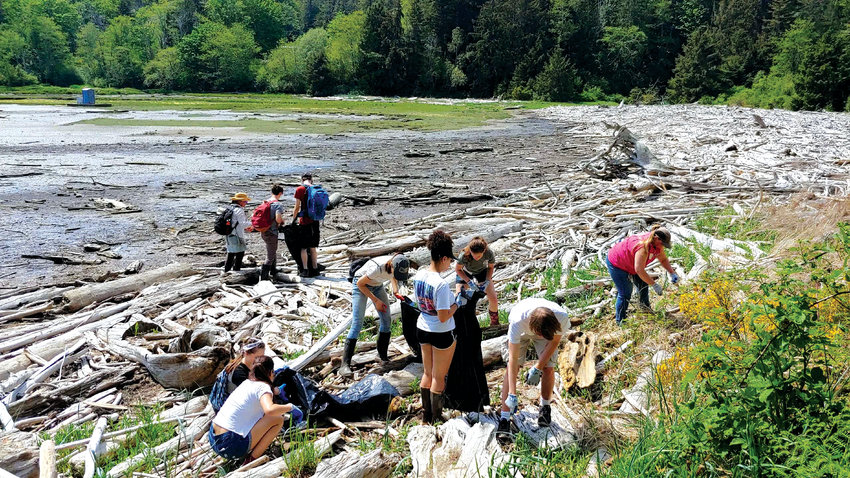 Students from Chimacum, Port Townsend and North Kingston High Schools cleaned plastic debris from the shores of Tarboo- Dabob Bay May 11.