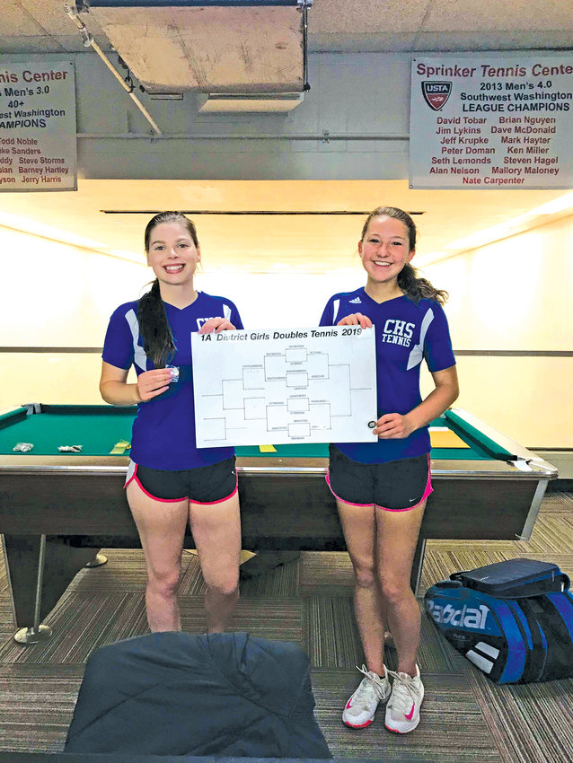 In Singles Madison Hess Of Port Townsend was 5th in District and Makaela Caskey of Chimacum was 8th in District.