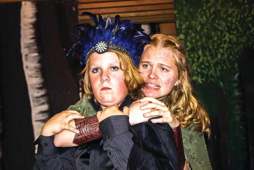 """Basil Lewis, 14, as Oberon, left and Melody Douglas, 14, as Titania, rehearse William Shakespeare's """"A Midsummer Night's Dream"""" in preparation for a trio of upcoming shows. The play depicts life in medieval Athens as the Duke, Theseus, prepares to marry the Amazon Queen, Hippolyta. The action moves to nearby woods, inhabited by fairies. The emotions of humans become subject to the spells and manipulations of the fairies, leading to all manner of shenannigans. The play also explores love through the characters of Hermia, Helena, Lysander and Demetrius. All shows begin at 7 p.m. at the Chimacum Grange, 9572 Rhody Drive in Chimacum, on May 31 and June 1, and at Olympic Peninsula HomeConnection, Serendipity Farm, 141 Cemetery Road in Quilcene on June 7 and June 8. Admission to all performances is by donation."""