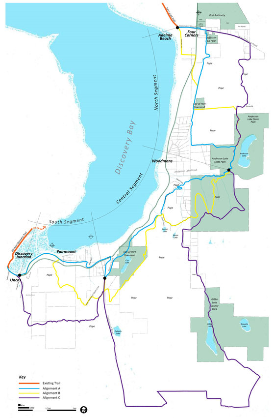 Proposed trail routes connecting the Larry Scott to the Milo Curry trailhead.