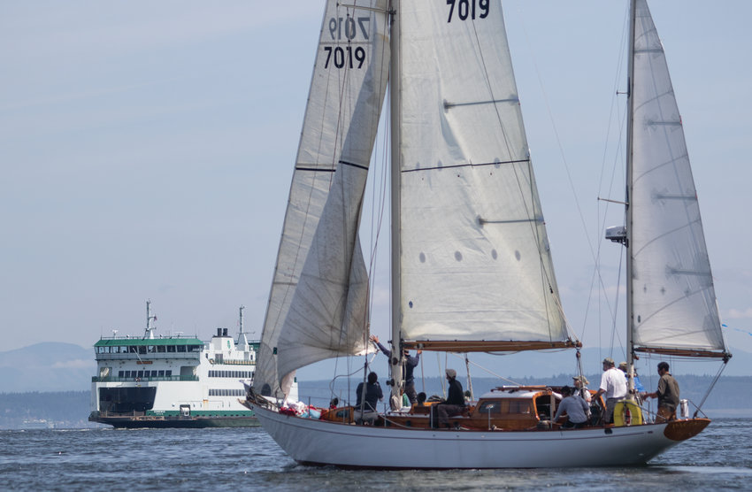 """The Classic Mariners Regatta on June 1 included 11 classic yachts, four """"A class"""" boats and seven """"B class,"""" that made their way twice around the marks in the Port Townsend Bay."""