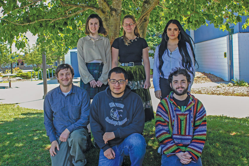 Washington State's  Seal of Biliteracy was earned by Chimacum students, from back left: Juniors Haley Morrison, Isabella Harvey, and Gisel Ramírez-Santos. Front: Spanish Teacher Reed Aubin, Junior Joel Cervantes, and Senior Braden Coleman.