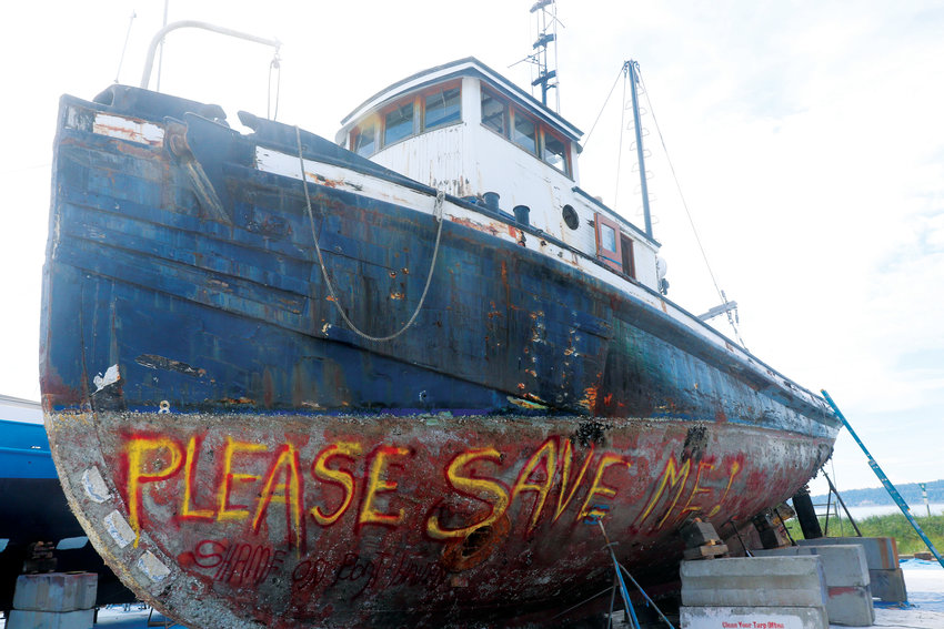 The boat was built in the Fulton Shipyard in Antioch, California in 1955, and is seeing its last days. After sitting derelict in Port Orchard since 2016, DNR has contracted a company to deconstruct it.