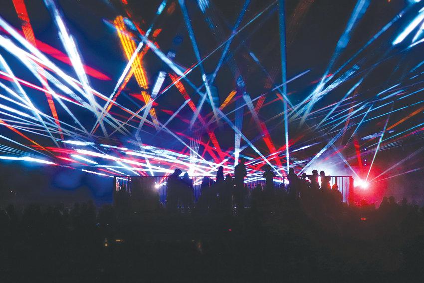 Lasers lit up Fort Worden on July 4, instead of the regular fireworks celebration.