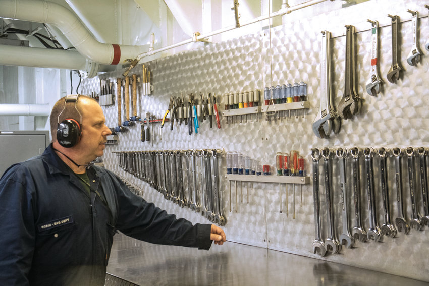 Robin Blanchard boasts that the Kennewick has one of the best, and most organized, shops in the Washington State Ferries fleet. Tools line the walls, providing the engineers with everything they need to make minor and major fixes to the ferry's engine room.