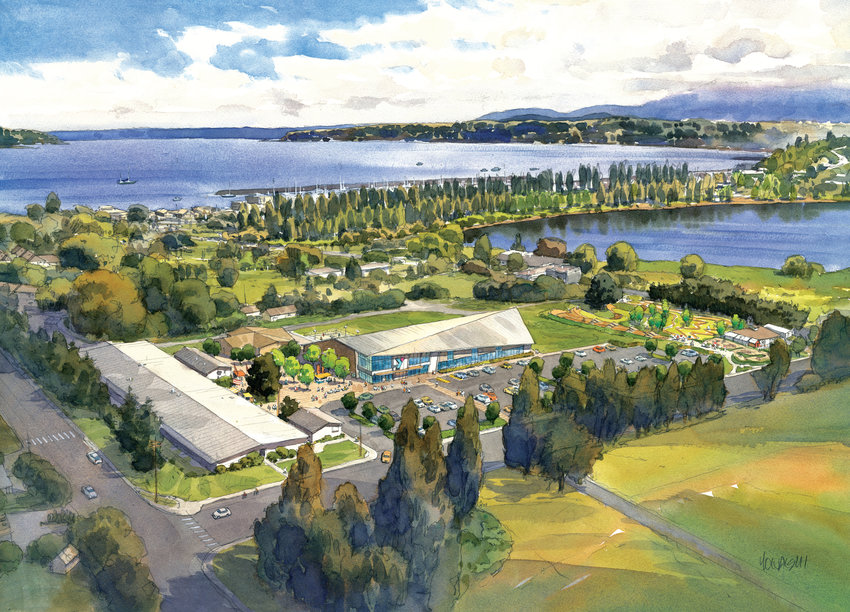 Artist renderings of the proposed Mountain View Commons show an enlarged parking lot, a two-story YMCA buidling, and an expansion to the recreation area that includes expanding the Recyclery.