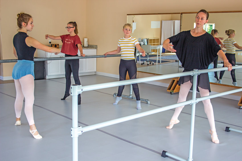Anna Tallarico, Tilly Morton, Ruby Mortensen and Jennifer Hardesty participate in class at Port Townsend Ballet, which opened at the beginning of August.
