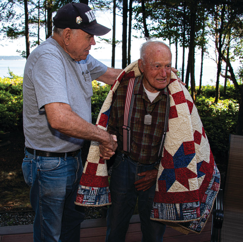 U.S. Navy veteran Ray Jeffery of Marrowstone Island, who served in World War II, received a Quilt of Valor at a ceremony Aug. 13.