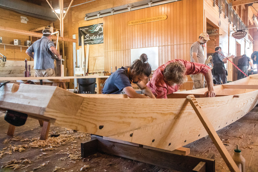Gabriel Partridge and Paul Pearce are both experienced woodworkers and boat builders. But in Douglas Brooks' Japanese river boat building class, they got the opportunity to try out new techniques that differ from Western-style boat building.