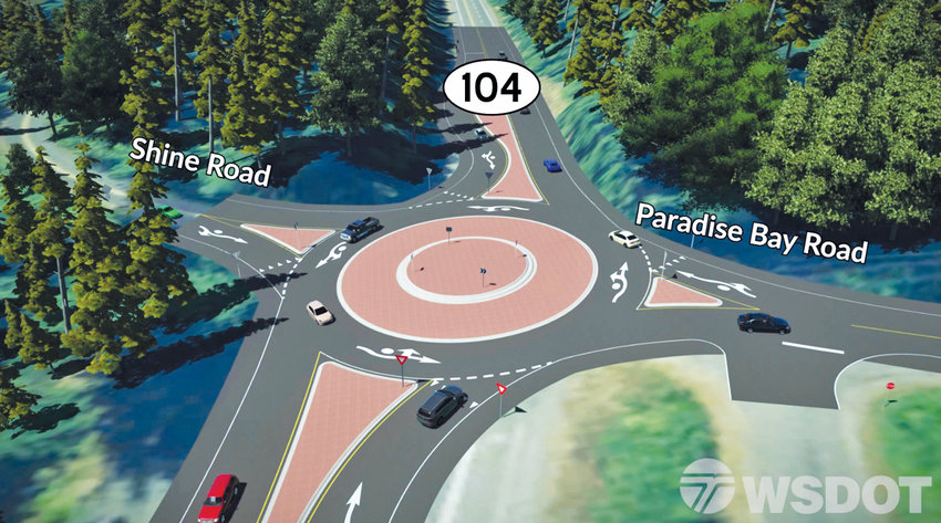 Washington State transportation planners propose to solve traffic problems at the west end of the Hood Canal Bridge with a $4.6 million roundabout and another $4.2million in improvements to the intersection of state Routes 104 and 19.