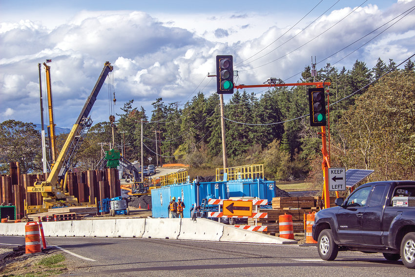 Motorists traveling to and from Marrowstone Island are limited to one lane of traffic while the Kilisut Harbor construction project continues through autumn of next year.