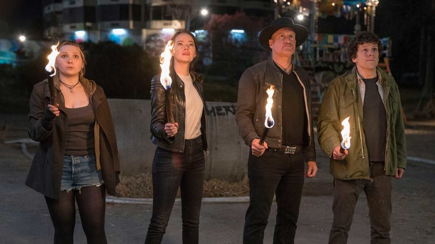 """Little Rock (Abigail Breslin), Wichita (Emma Stone), Tallahassee (Woody Harrelson) and Columbus (Jesse Eisenberg) are all back for more in """"Zombieland: Double Tap."""""""