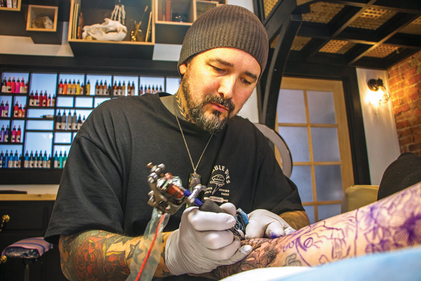 Clae Welch has become a Port Townsend institution, a destination tattoo artist drawing people from all over the region to Towns End Tattoo. When not working in this studio, Welch travels the globe to guest spot at world renowned studios in order to up his game.
