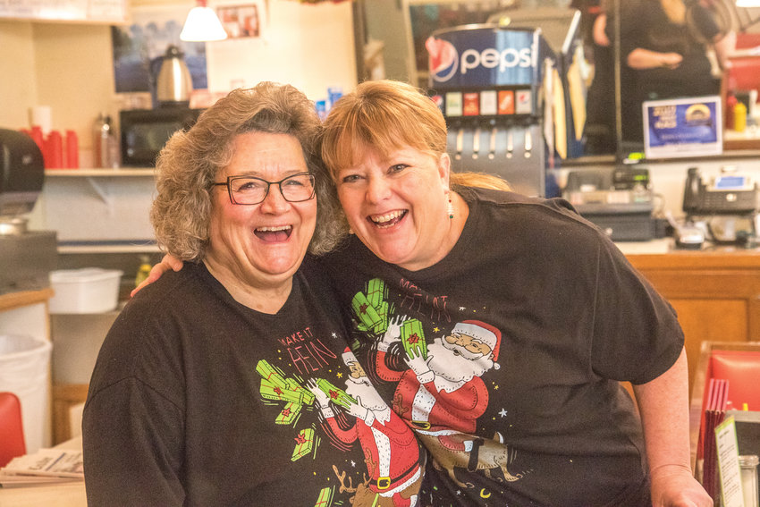 Gina Landon, right, and Sam Johnson know all their regulars by name and by order. They tease, joke, and laugh with the customers of Don's Soda Fountain, bringing them back week after week.