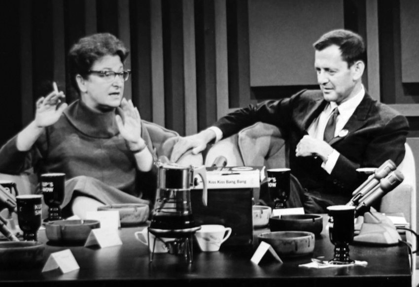 Film critic Pauline Kael, seen here holding forth in a discussion with actor Tony Randall, did not suffer the old boys' network lightly.