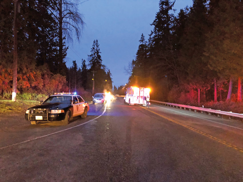 A three-car collision killed one and injured six others. It blocked U.S. Highway 101 for several hours with no detours between Blyn and Sequim. Photo courtesy of Washington State Patrol