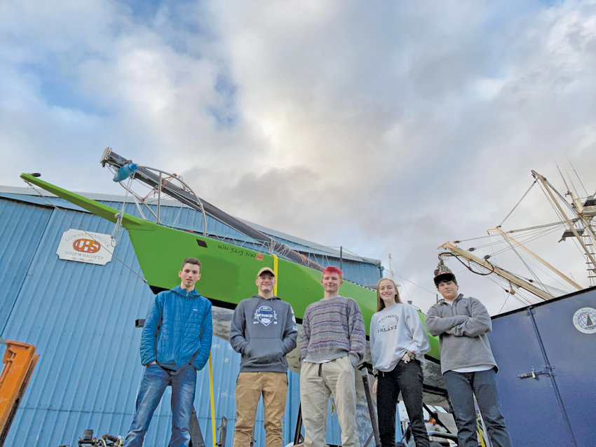 Team FAST (Freaking Awesome Sailing Teens) includes from left, Luca Gesinger, 18; Dylan Tracer, 18; Odin Smith, 16; Willow Hoins, 17; and Oscar Levine, 15. Courtesy photo