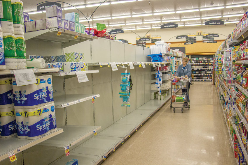 Shoppers cleaned out the shelves of Port Townsend's QFC, stocking up on cold medicine and toilet paper among other items. Jefferson County only has four confirmed cases, although Jefferson County Public Health Officer Tom Locke says community spread is imminent.