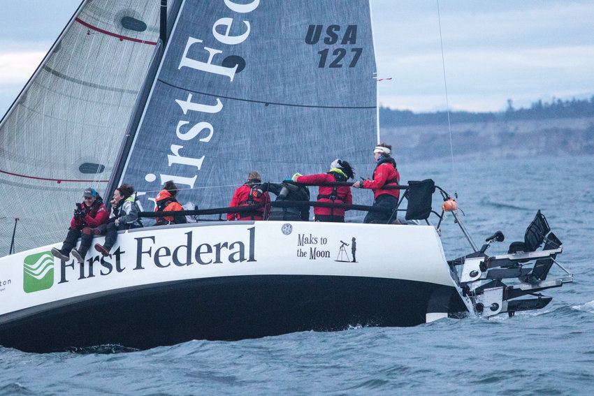 Team Sail Like A Girl takes off at the 5 a.m. start of the 2019 Race to Alaska, which begins in Port Townsend. This year, the race has been canceled due to the coronavirus.