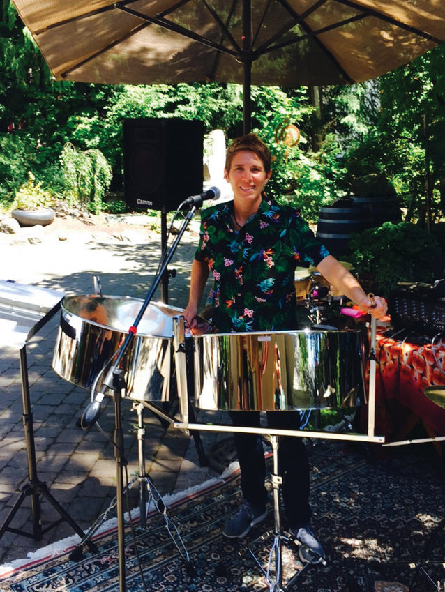 Percussionist Angie Tabor will set up her steel drums at Discovery View Retirement Apartments, at 1051 Hancock St. in Port Townsend, for a free concert on Monday, May 11 at 2 p.m.