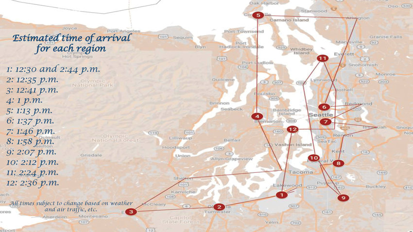 """A map of the 62nd Airlift Wing's """"Air Force Salutes"""" morale flyover route throughout the Puget Sound area—including Port Ludlow, Port Hadlock and Port Townsend—on Friday, May 8."""