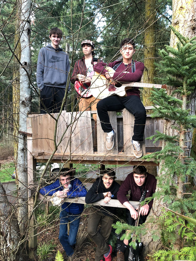 The PTHS rock band Iron Weasel. Top: Jacob Madison, Keenan Chambers, Cameron Rowland Bottom: Pierre Ballou, Louis Babik, Max Doray. Courtesy photo