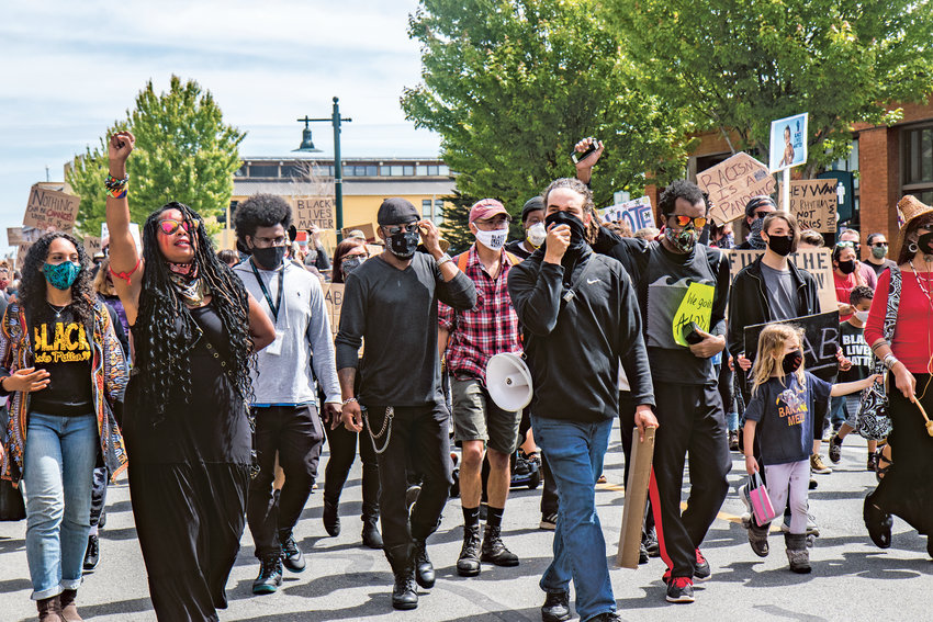 "Hundreds of people march down Sims Way in Port Townsend's first-ever Juneteenth Freedom March. The march was to celebrate what is called ""Freedom Day,"" the day enslaved people in Texas were finally informed of their freedom on June 19, 1865."