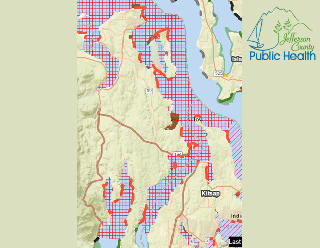 "The waterbodies marked with red cross-hatching, and the beaches are outlined in red, are ""Closed by Biotoxins."""
