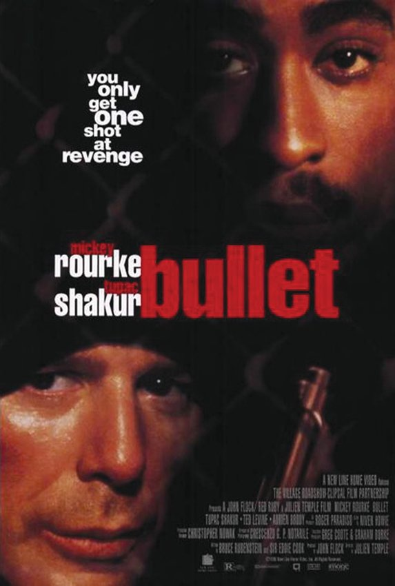 """""""Bullet"""" (1996) stars Mickey Rourke and Tupac Shakur as gangland rivals on a tragic collision course."""