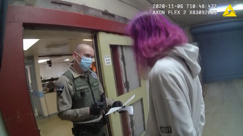 Annie Barton is processed at the Jefferson County Jail after being arrested for possession of a controlled substance.