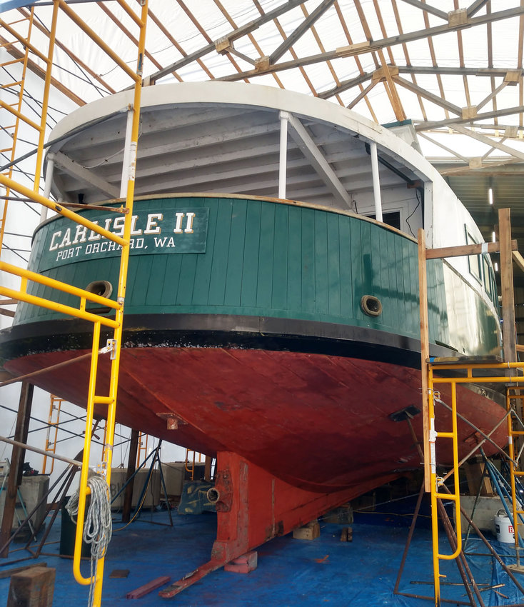 The Carlisle II, blocked up and under cover at Haven Boatworks.