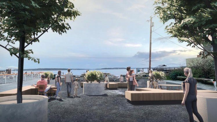 """An artistic rendering of the proposed """"parklet"""" at the end of Adams Street in downtown Port Townsend"""