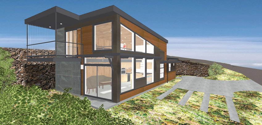 An artistic rendering of the 570-square-foot home to be built at Beckett Point.