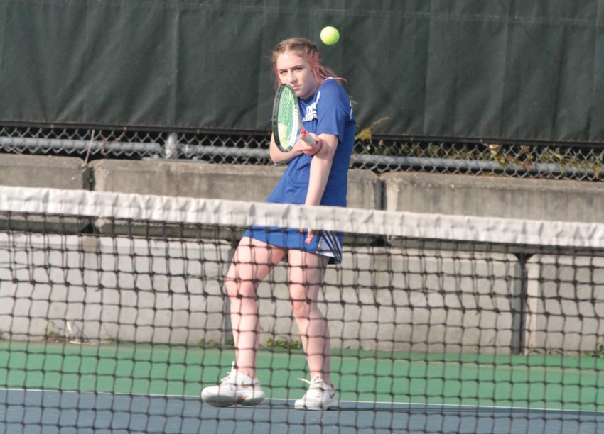 Madison Hess returns a serve in play against the Spartans last week.