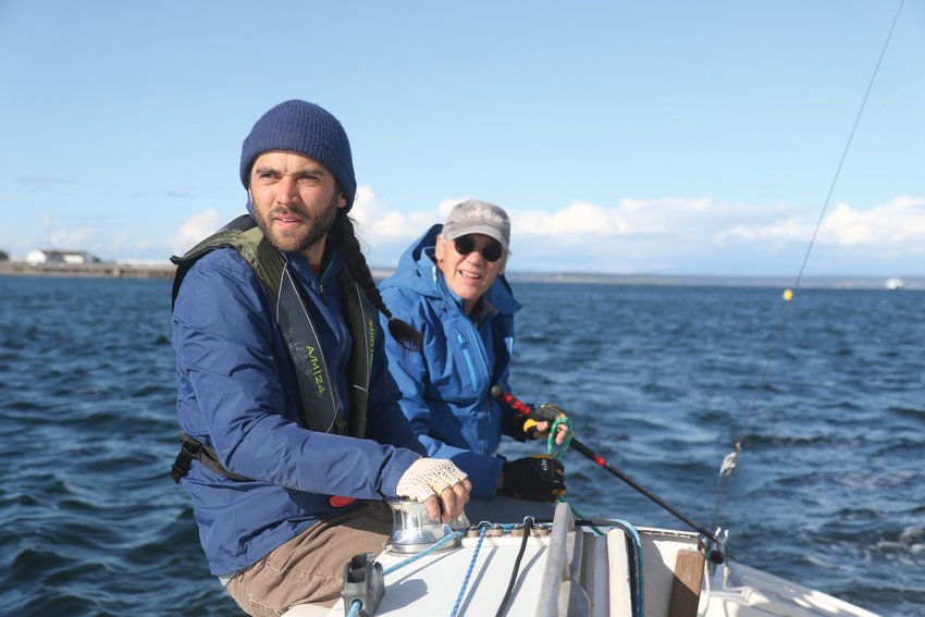 Colin Keys and Roland Nikles sail aboard the Thunderbird Falcon during the May 7 PHRF race.
