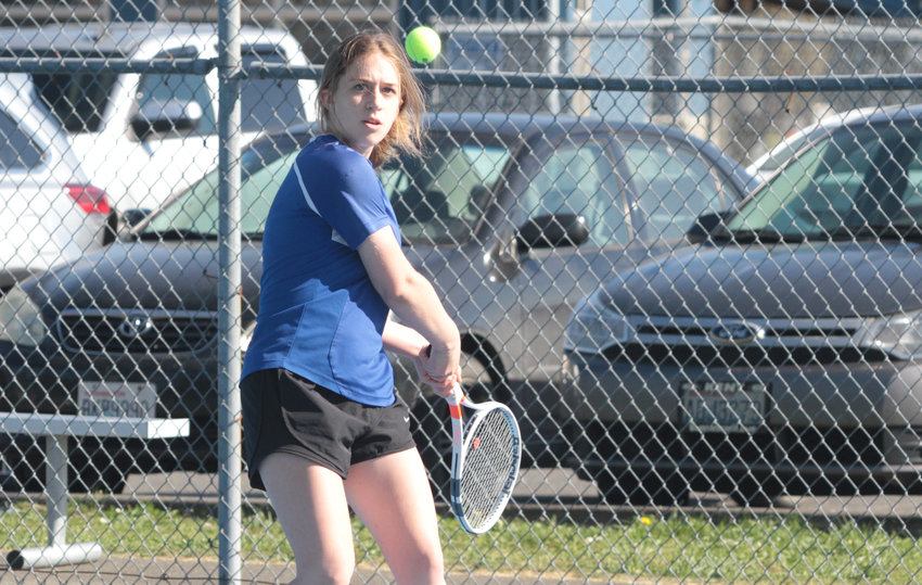 Madison Hess competes in girls No. 1 singles against the Vikings.