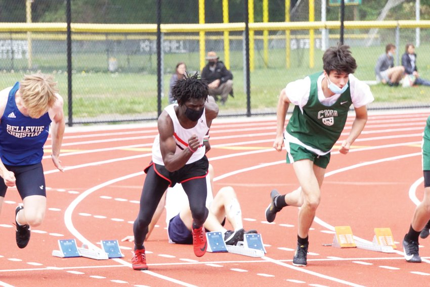 Jerome Reaux Jr. turns on the jets during East Jefferson's final track meet of the season.